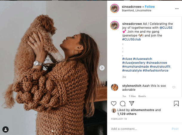 Instagram shoutout example