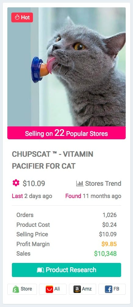 Pet Niche Dropshipping Product Examples: Vitamin pacifier for cats