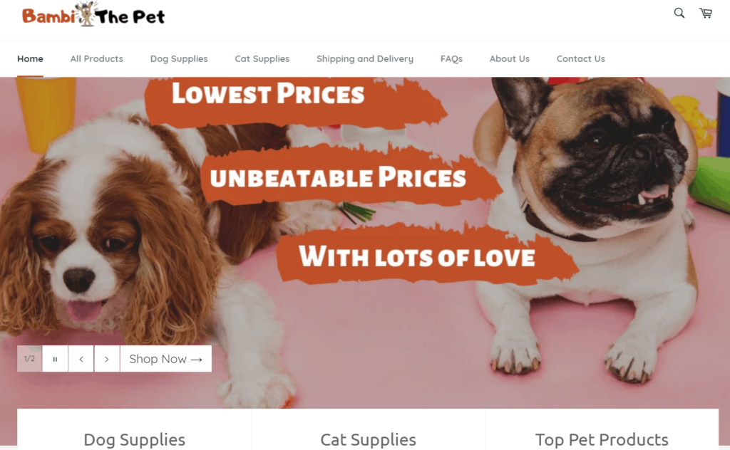 Pet Niche Dropshipping Store Examples: Bambi The Pet