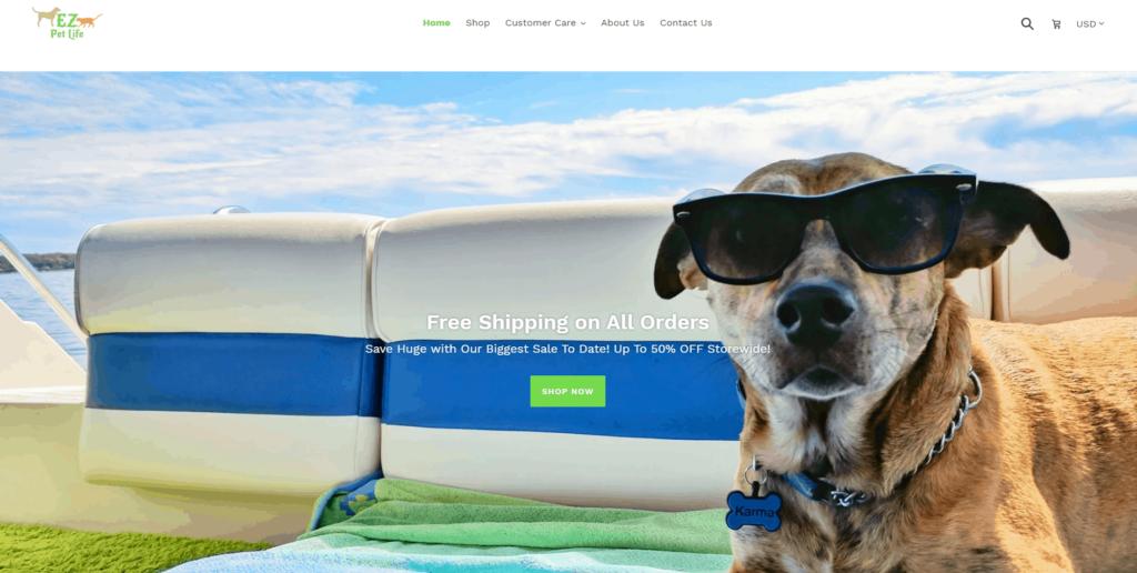 Pet Niche Dropshipping Store Examples: Ez Pet Life