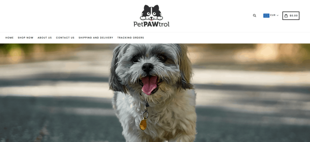 Pet Niche Dropshipping Store Examples: Pet PAWtrol
