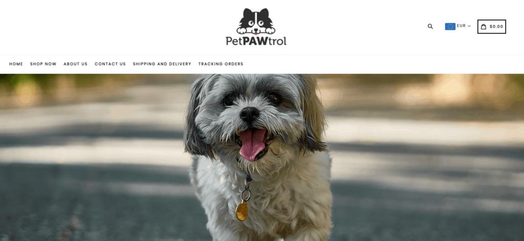 Exemples de magasin de dropshipping de niche pour animaux de compagnie: Pet PAWtrol