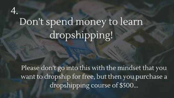 Commencez le dropshipping gratuitement en 2020: 4. Ne dépensez pas d'argent pour apprendre le dropshipping!