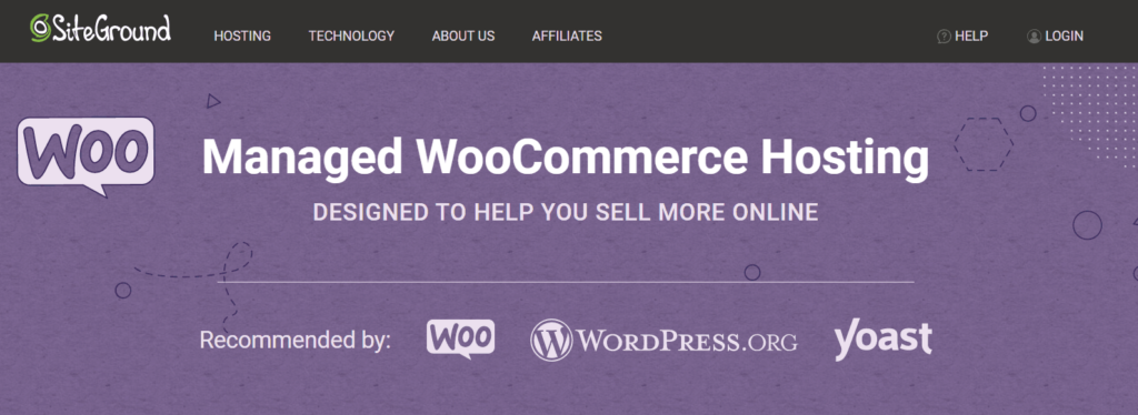 SiteGround WooCommerce hosting page
