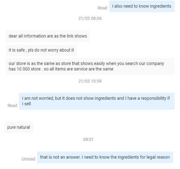 Example of a conversation with an AliExpress supplier