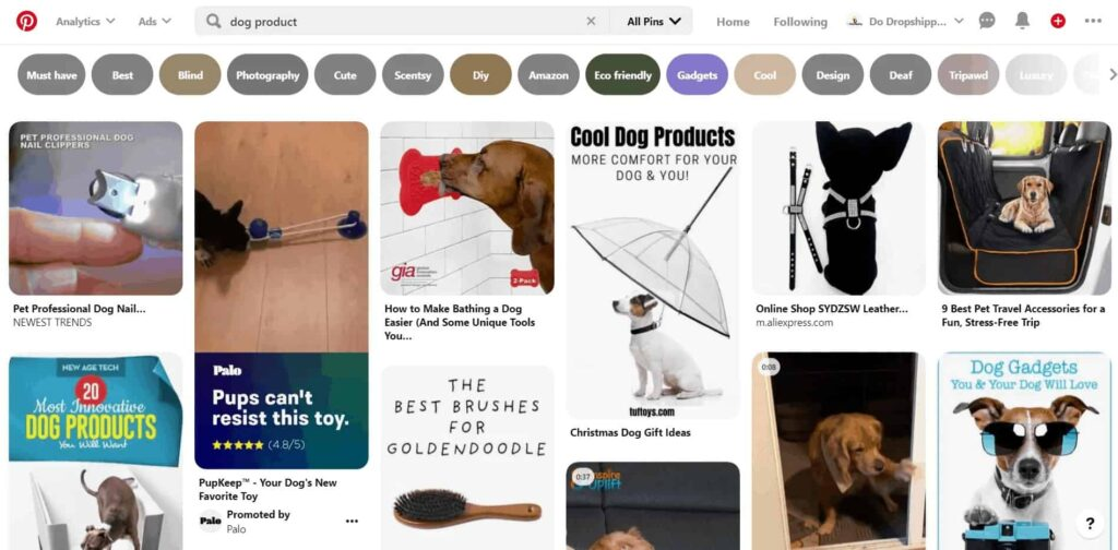 Pinterest feed and ad example