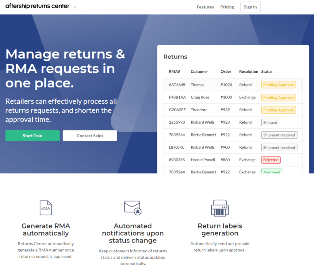 Aftership returns center deal with returns dropshipping store