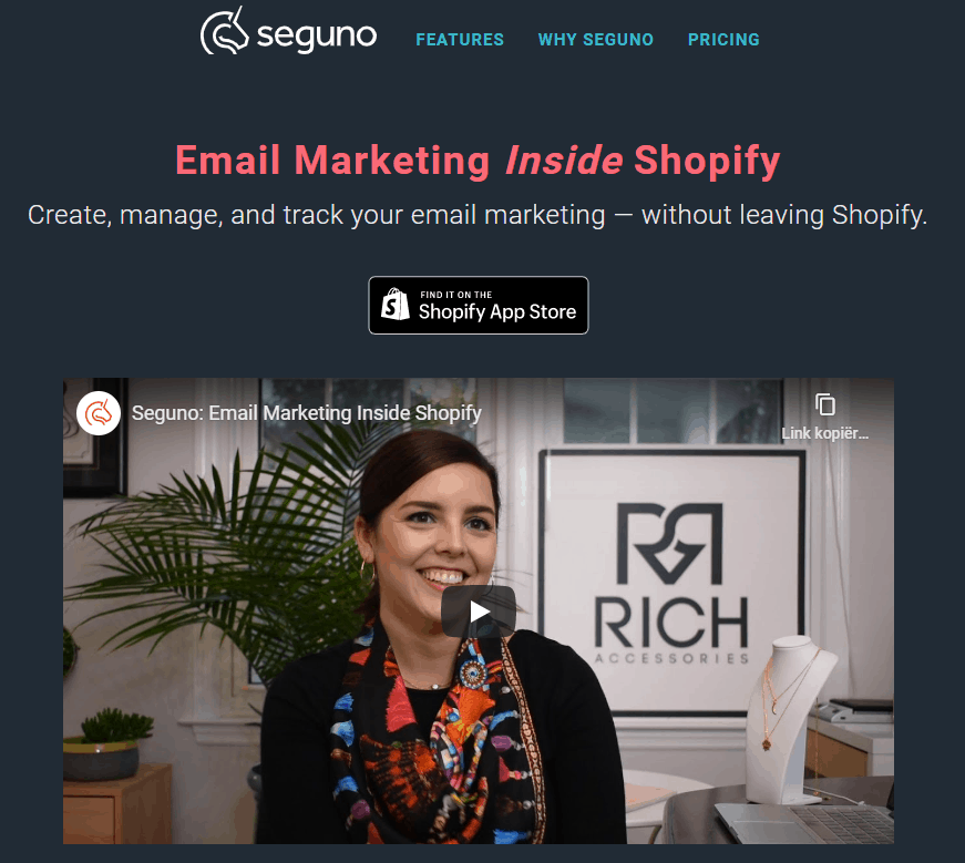 Email marketing inside Shopify with Seguno
