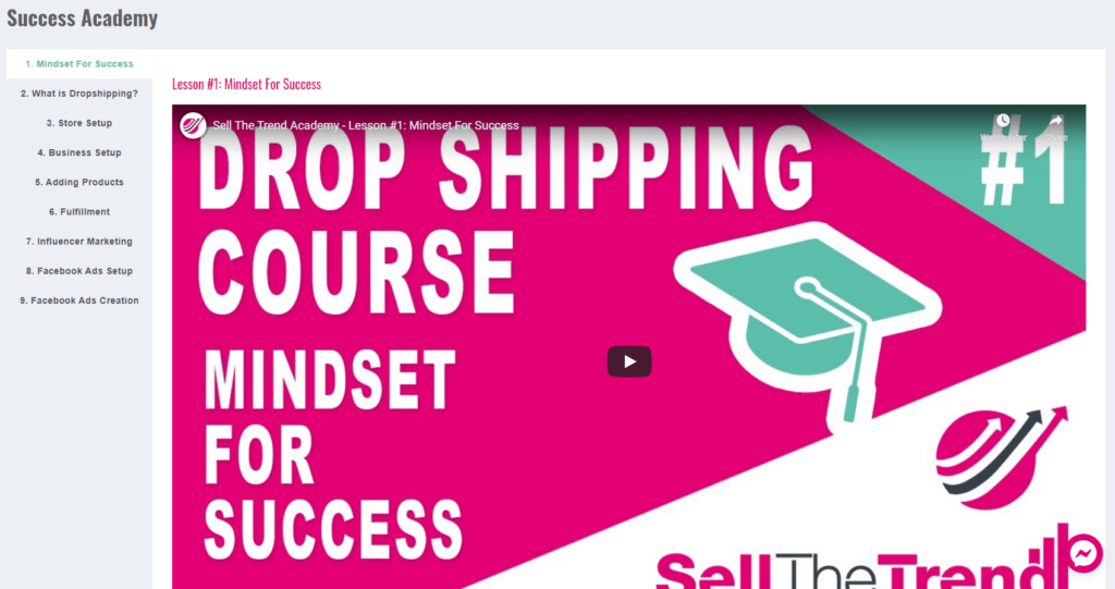 Sell The Trend Review: Free Dropshipping Course is included