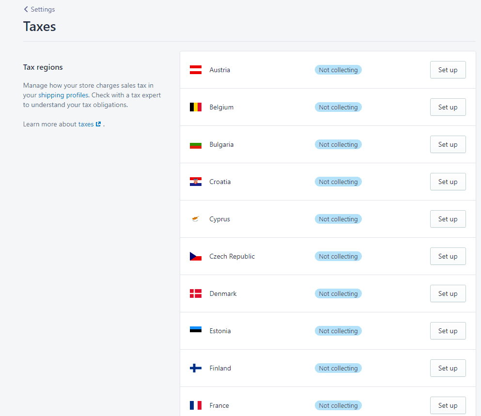 Screenshot of how to charge tax on a Shopify dropshipping store. This is great if you need help with your accounting.