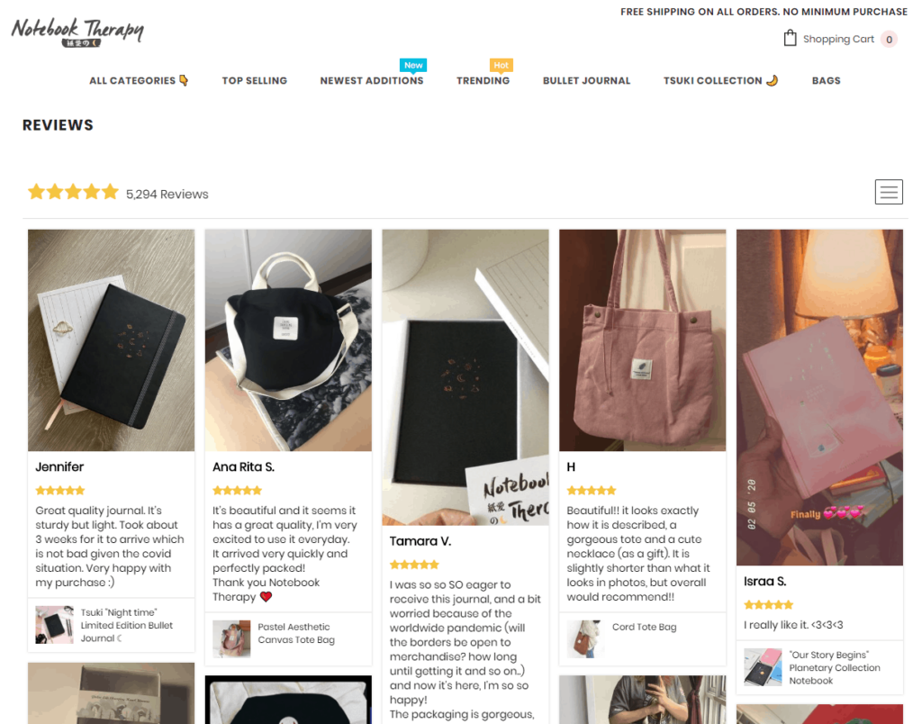 Shopify Standard Pages: Reviews page. Here you can see an example of a reviews page from Notebook Therapy.