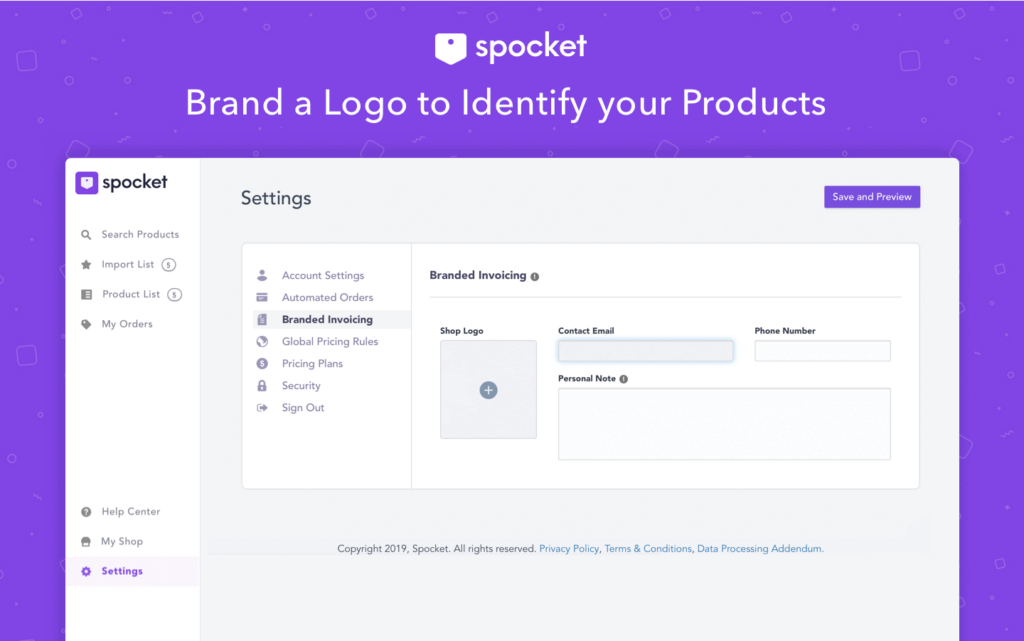 Spocket example of the branded invoicing