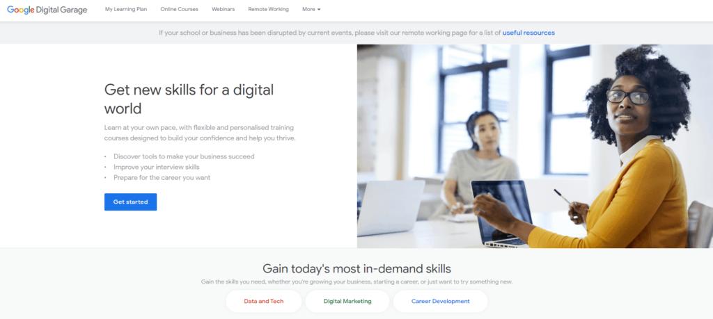 Screenshot of the Google Digital Garage homepage