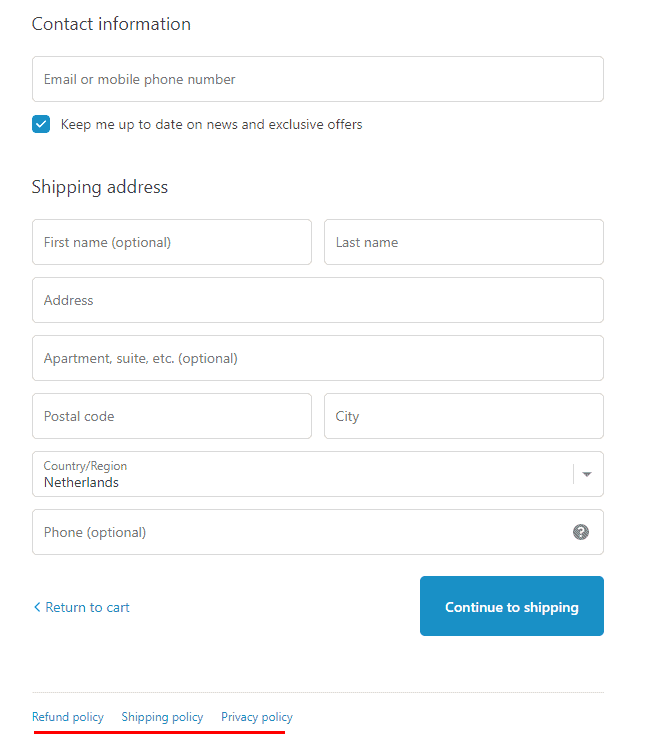 Screenshot of the checkout page of Shopify with the standard pages enabled