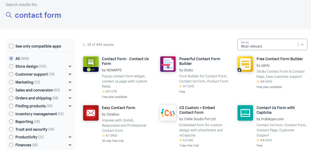 Screenshot of the Shopify App Store. Here you can find a lot of apps that help you create an awesome contact form for your store.