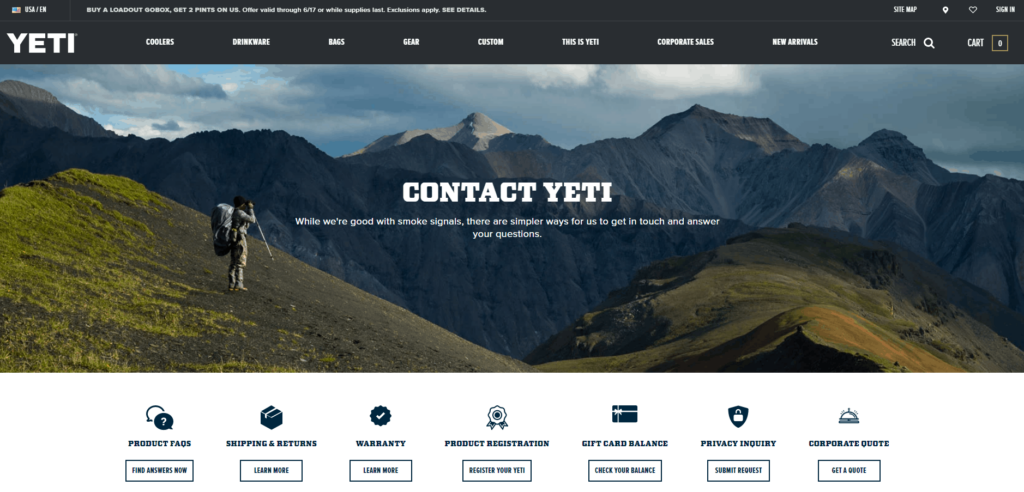 Shopify Standard Pages: Contact page. Here you can see an example of a contact page from Yeti.