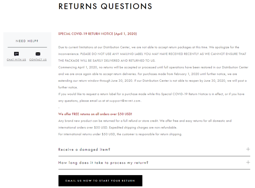 Shopify Standard Pages: Refund Policy. Here you can see an example of a refund policy from MVMT Watches