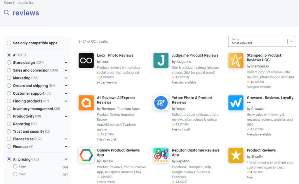 Screenshot of the Shopify App Store. Here you can find a lot of apps that help you create an awesome reviews page for your store.
