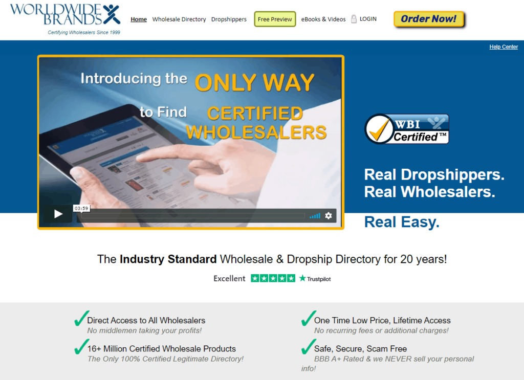 Homepage of Worldwidebrands