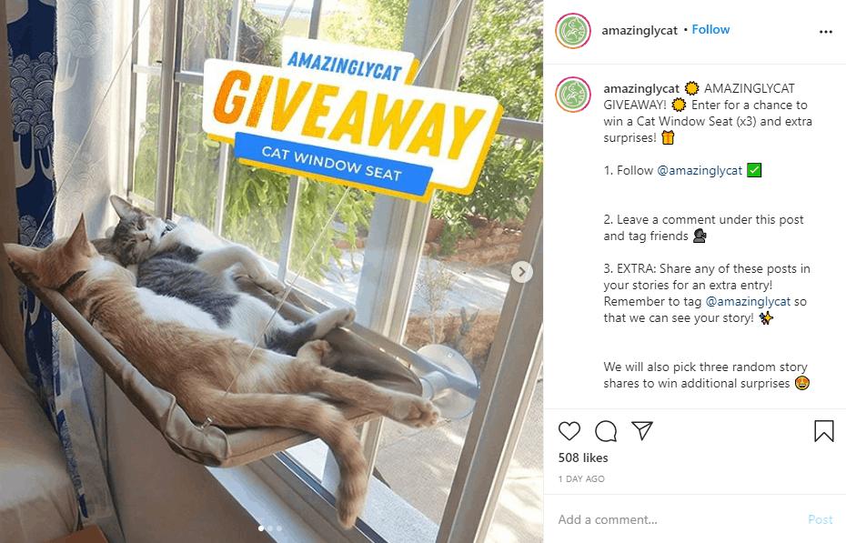 Instagram giveaway post example