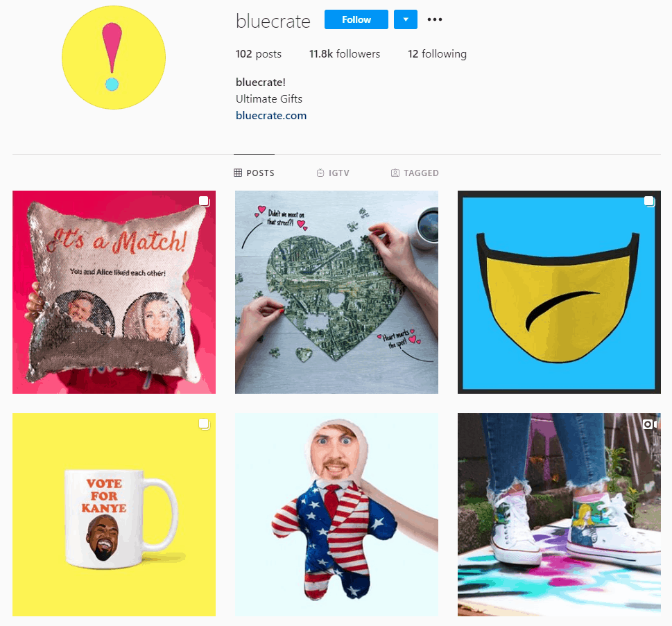 Dropshipping Instagram account example: Bluecrate