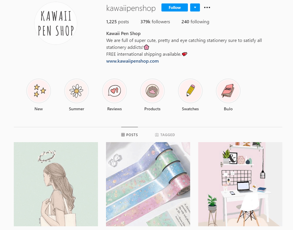 Dropshipping Instagram account example: Kawaii Pen