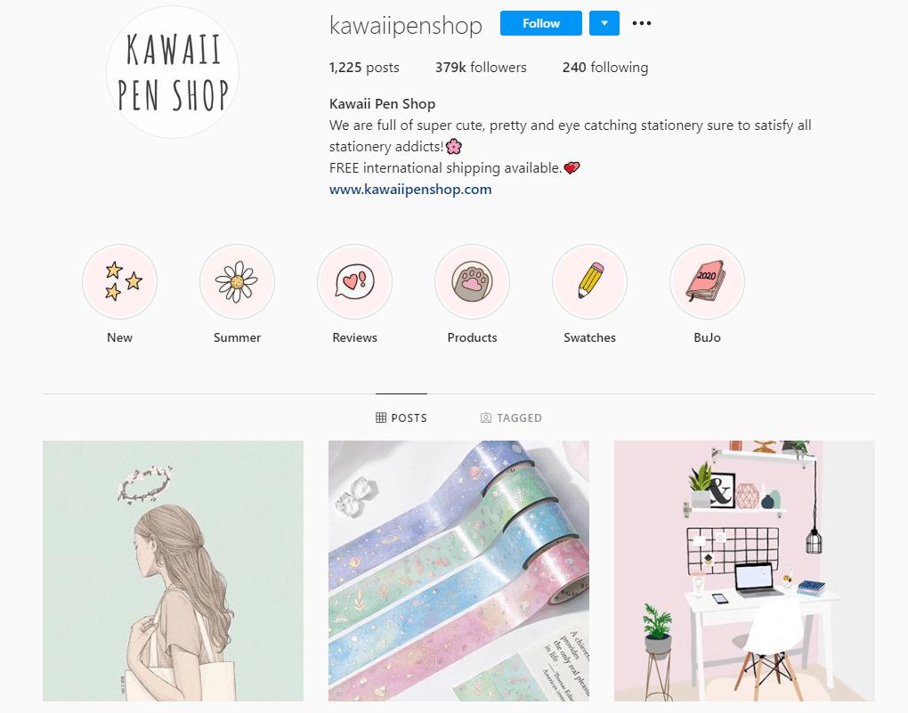 Dropshipping Instagram account example: Kawaii Pen