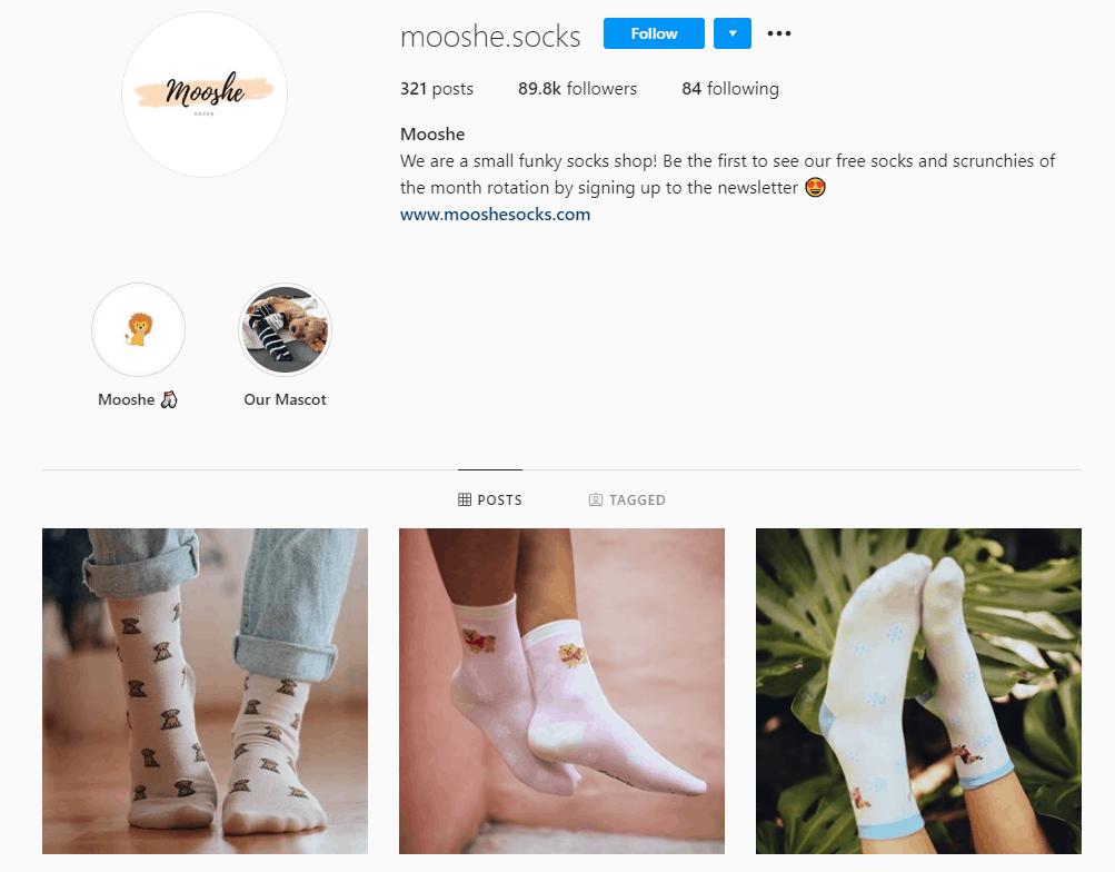Dropshipping Instagram account example: Mooshe Socks