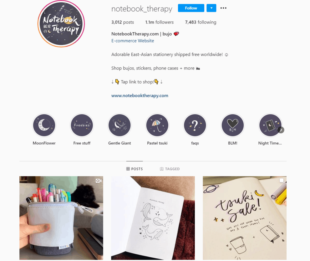 Dropshipping Instagram account example: Notebook Therapy