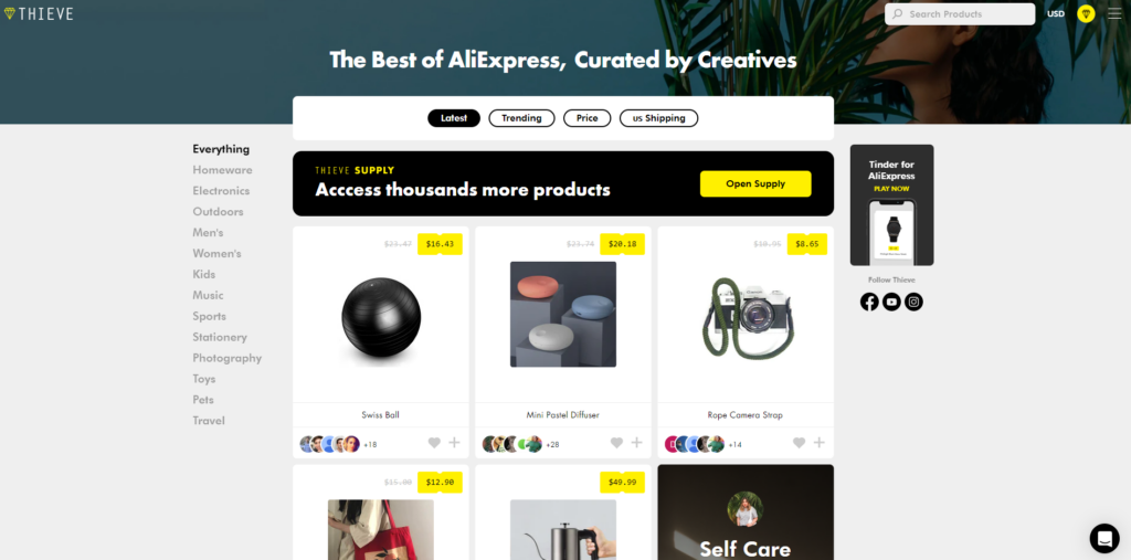 Free AliExpress Product Discovery Tools: 1. Thieve.co