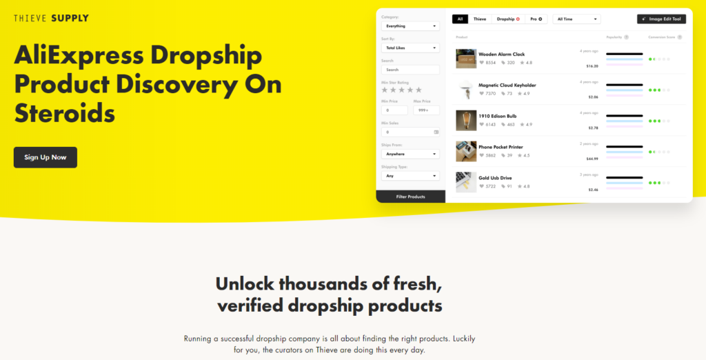 Dropshipping product research tool: Thieve Supply