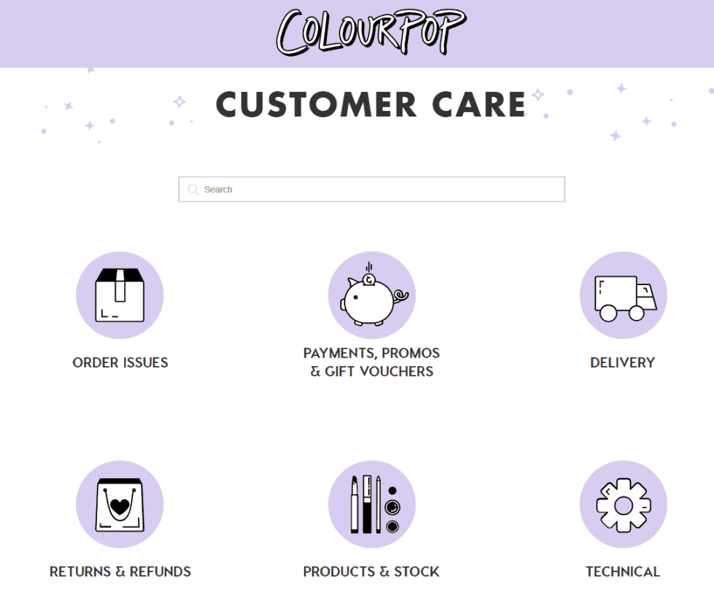 Ecommerce FAQ page example: ColourPop