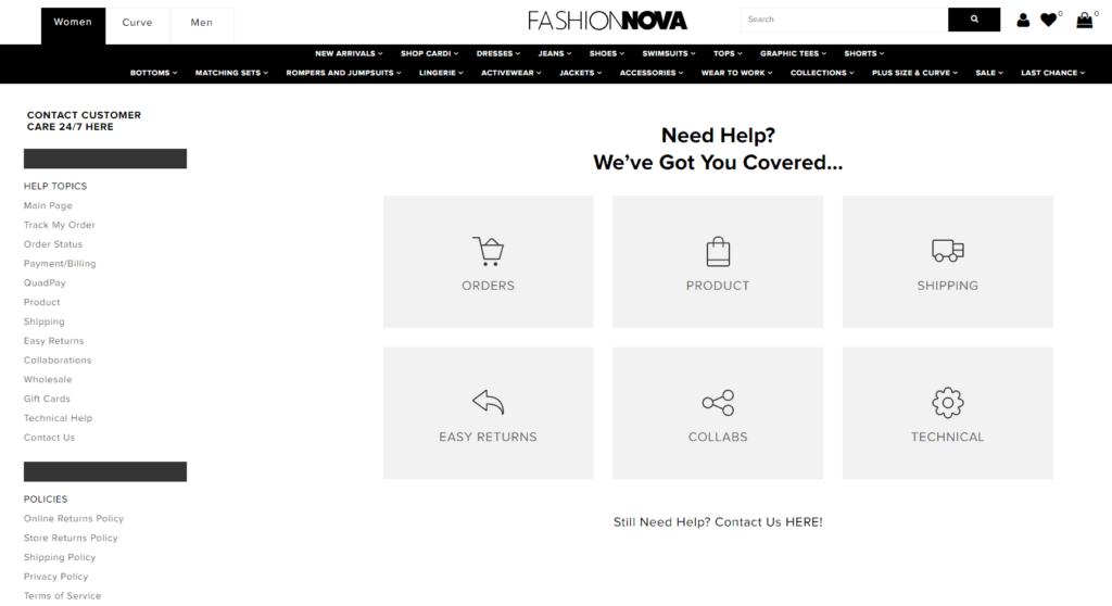 Ecommerce FAQ page example: Fashion Nova