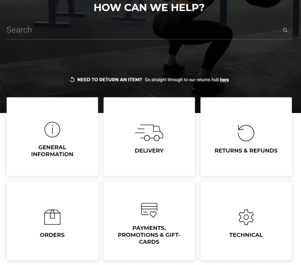 Ecommerce FAQ page example: Gymshark