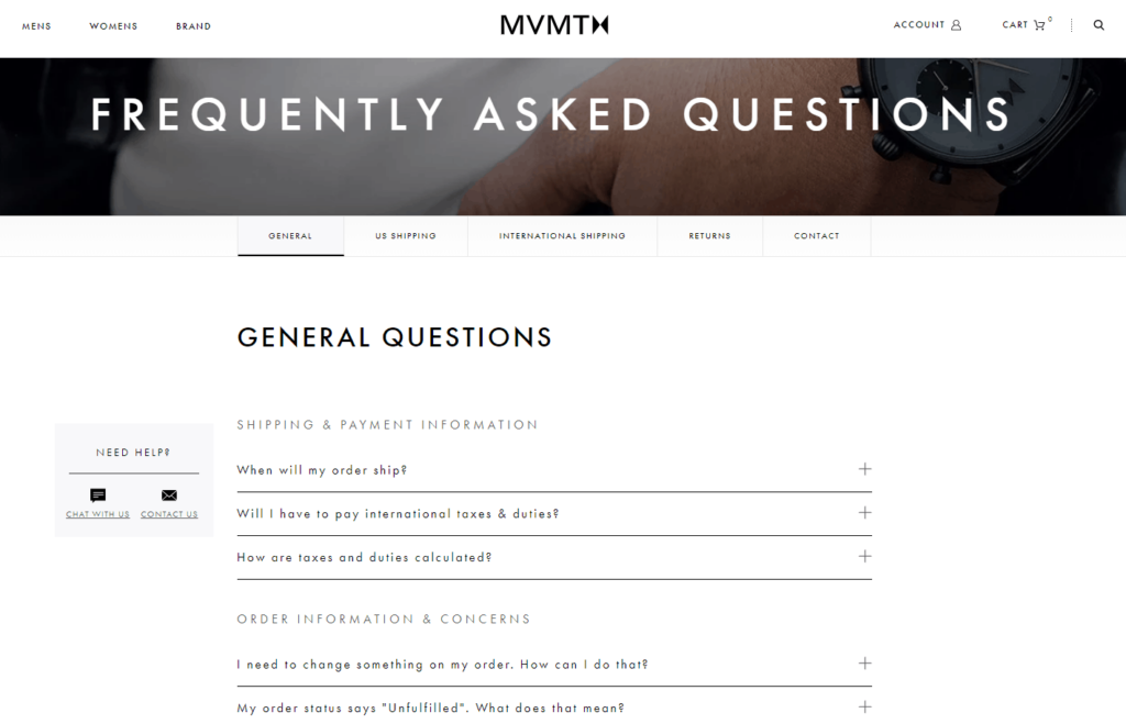 Ecommerce FAQ page example: MVMT Watches