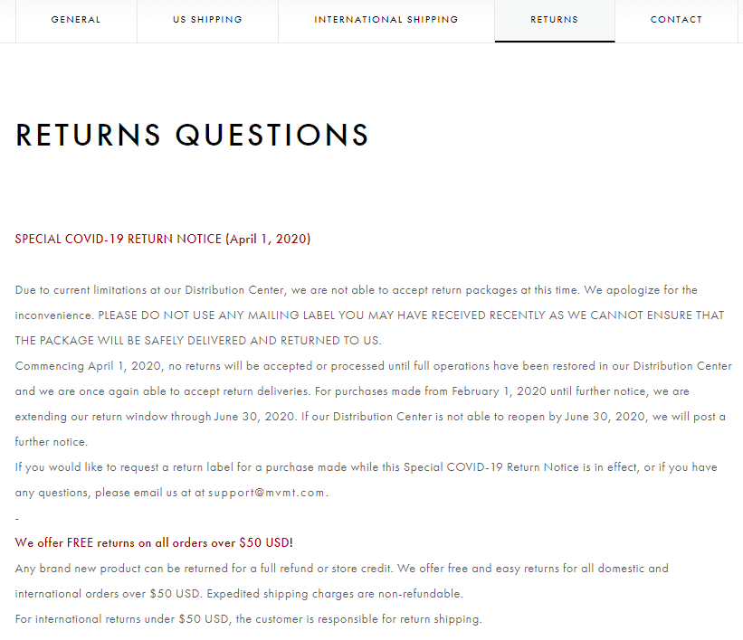 Example of the return questions from MVMT Watches