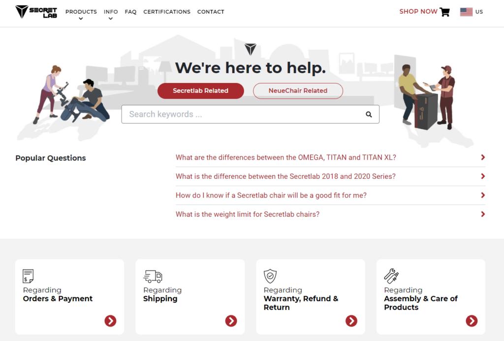 Ecommerce FAQ page example: Secretlab