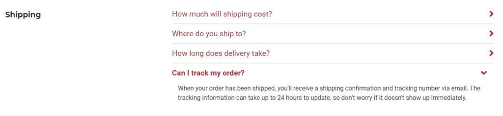 Example of how Secretlab talks about their shipping questions