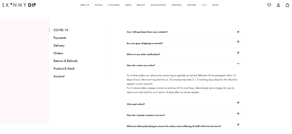 Ecommerce FAQ page example: Skinny Dip