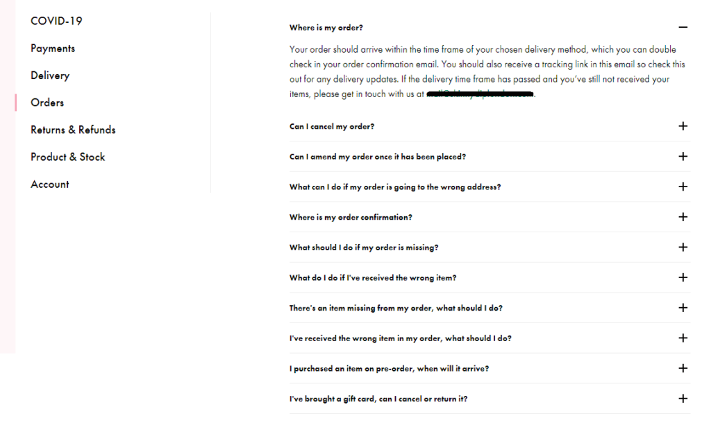 A whole list of questions that have something to do with someone's order