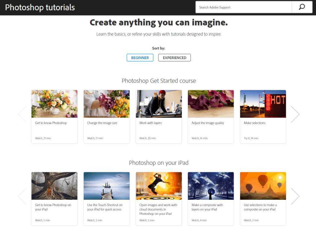Screenshot of the free Photoshop courses on the Adobe website