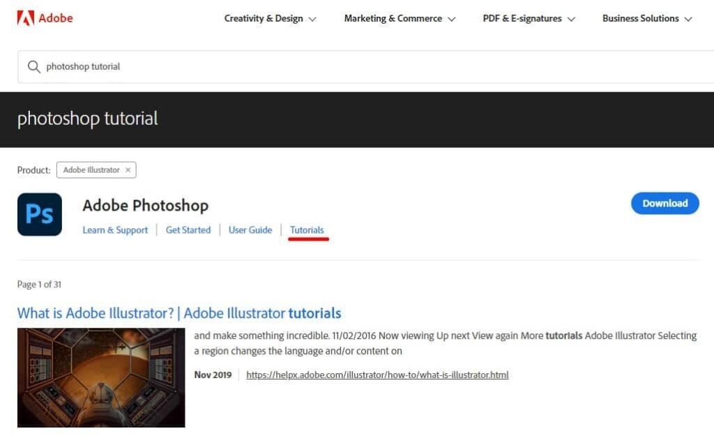 Example of how to learn Photoshop for free on the Adobe website