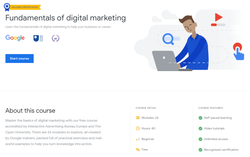Screenshot of the Fundamentals of Digital Marketing course from Google