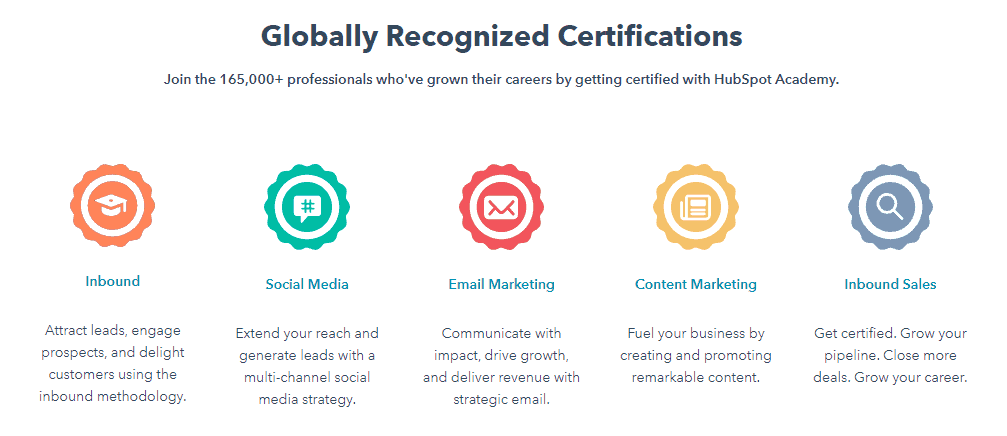 Screenshot of the certifications that you can earn with the Hubspot Academy