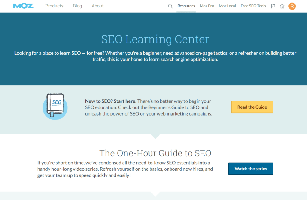 Free Ecommerce Courses: SEO Learning Cetner from Moz