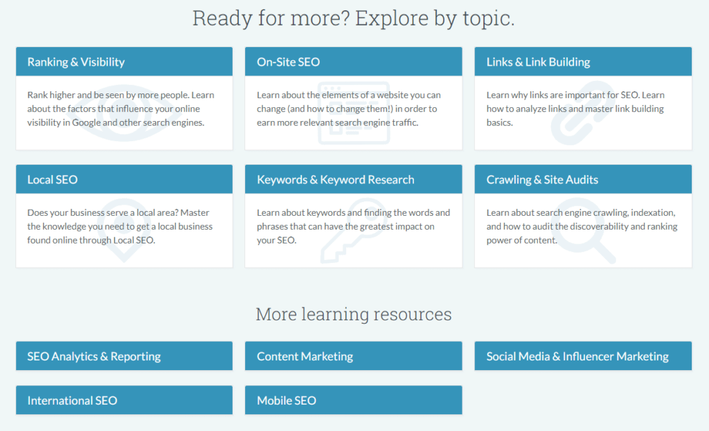 Screenshot of all the topics that they cover in their SEO Learning Center