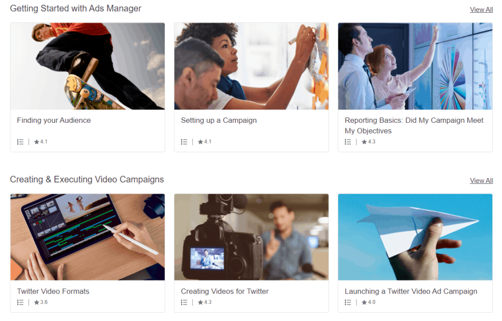 Example of some of the free courses that you can take on Twitter Flight School