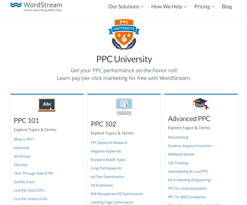 Screenshot of the PPC University by WordStream