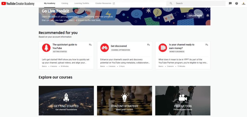 Free Ecommerce Courses: YouTube Creator Academy