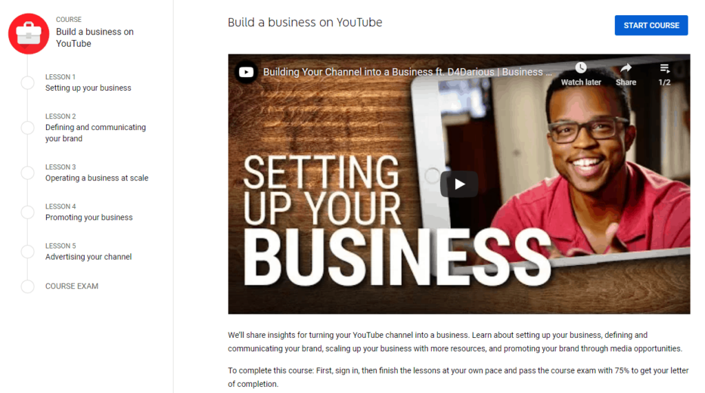 Screenshot of the Build a business on YouTube course